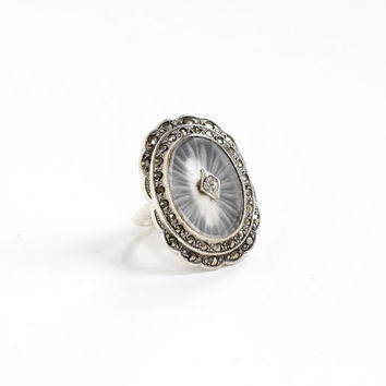 Antique Sterling Silver Rock Crystal, Rhinestone, & Marcasite Ring - Vintage Size 5 Art Deco Rare Simulated Camphor Glass Statement Jewelry