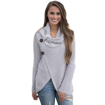 Grey Buttoned Wrap Cowl Neck Sweater
