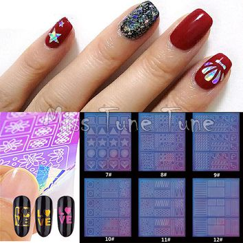 1 Sheet Holographic Nail Stencils Multiple Use Stencils Stickers Nail Vinyl Xmas Halloween Swirls Pumpkins Watermarble Pattern