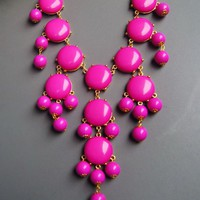 Bubble Necklace - Bib Necklace- Statement Necklace-dark pink