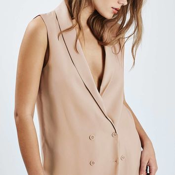Double Breasted Sleeveless Jacket - New In