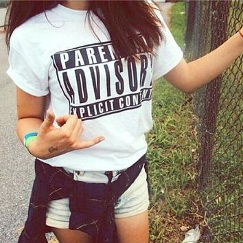 PARENTAL ADVISORY Letters Printed short sleeve for women