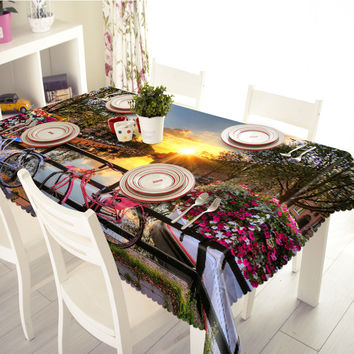 New 3D Tablecloths European Cottages Printing Waterproof/oil-proof Thicken Multi-size Rectangular/Circular Tables Home -T015