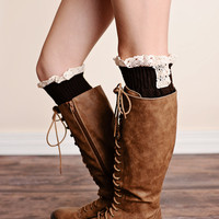 Boot Socks Cable Knit Lace Trim Coffee Dark Brown Leg Warmers