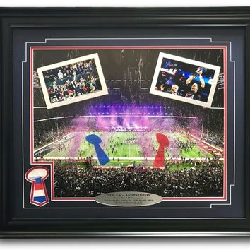 NEW ENGLAND PATRIOTS SUPER BOWL CHAMPS AUTHENTIC CONFETTI FRAMED 16X20 COLLAGE