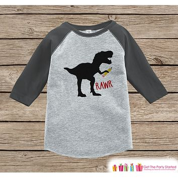 Back to School Shirt - Boys Back To School Dinosaur Shirt - Dinosaur Shirt - Grey Raglan - Kids School Tee - Back to School Shirt - Pencil