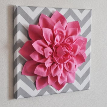 "Pink Wall Flower -Bright Pink Dahlia on Gray and White Chevron 12 x12"" Canvas Wall Art- Baby Nursery Wall Decor-"