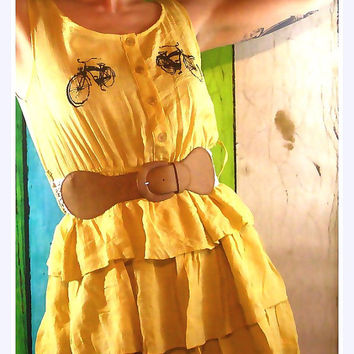 Womens ruffled dress layered skirt vintage bike screen print fashion clothing screen printed apparel yellow dress