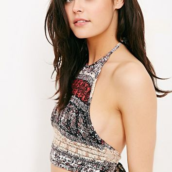 Ecote Printed Smocked High-Neck Bra Top - Urban Outfitters