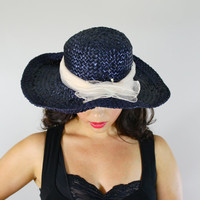 Vintage Navy Blue Wide Brim Hat -  1960s Floppy Raffia Sun Hat Fashion Accessory / Pink Bow Accent