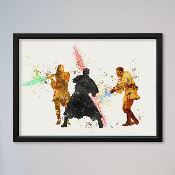 Star Wars Darth Maul Obi-Wan Kenobi Qui-Gon Jinn Poster Watercolor Print Wall Decor Fine Art Giclee Print Wall Hanging StarWars Jedi Fight
