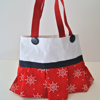 Nautical Red Steering Wheel Tote Bag with Navy Blue Bow