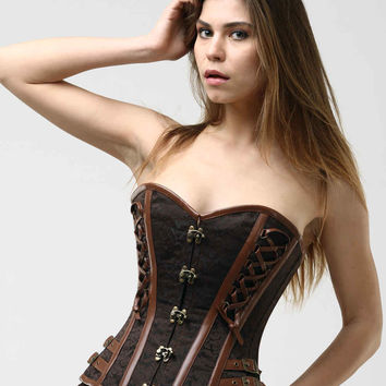 Brown Steampunk Handmade Couture Steel Boned Corset NS-317