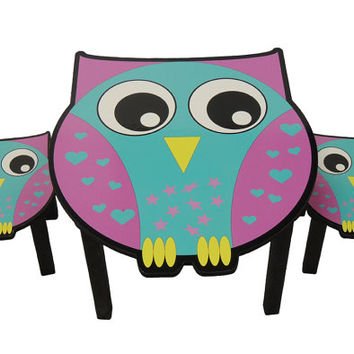 Childrens owl theme activity table and chair set. Kids table set