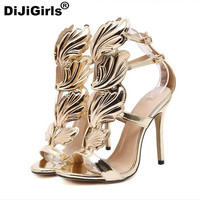 metal wings high heels