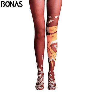 BONAS Fox Print Pantyhose Women High Waist Cotton Tights Meias