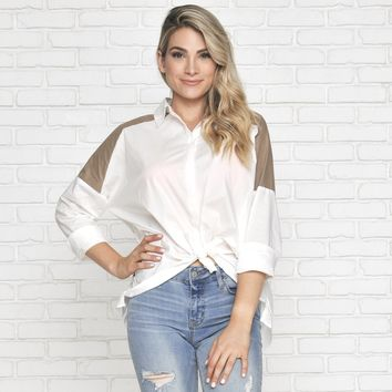 It's All Stripe Button Up Blouse in Ivory Taupe