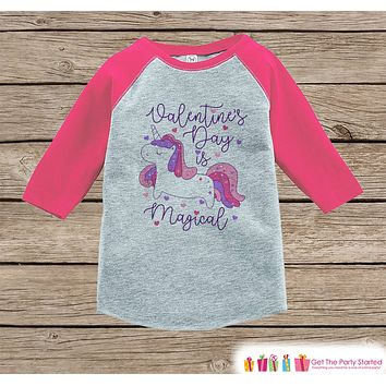Girls Unicorn Shirt - Valentines Day is Magical Purple Unicorn - Love Unicorn - Girls Onepiece or Tshirt - Kids, Toddler, Youth Pink Raglan