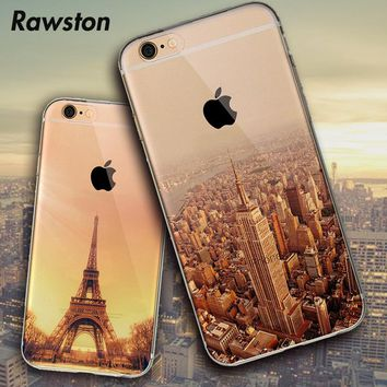 Silicone New York Empire Building Eiffel Tower Gradient Phone Cover Case for iPhone 5s 6 6s 7 8 capinhas Big Ben Deer Snow Mount