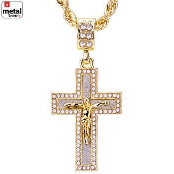 """Jewelry Kay style Men's 14k Gold Plated Iced Out Jesus Cross Pendant 24"""" Rope Chain HC 2053 G"""