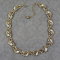 Vintage Trifari Patent Pending Golden Rhinestone Linked 1940s Necklace