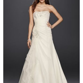 A-Line Wedding Dress with Appliques and Ruching - Davids Bridal