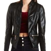 Asymmetrical Faux Leather Jacket by Charlotte Russe