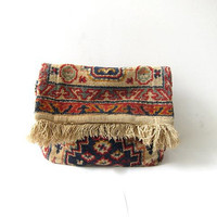 20% OFF SALE Vintage Carpet Handbag. Italian Tapestry Clutch. Fringed Rug Purse.