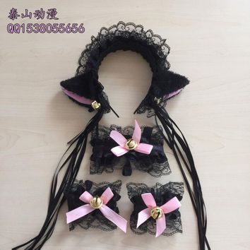 Chobits Lace Cat Ears Headband and Ribbon Maid Neko Cosplay Cat Ears Headwear