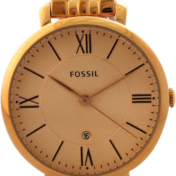 fossil - es3435p jacqueline rose-tone stainless steel watch