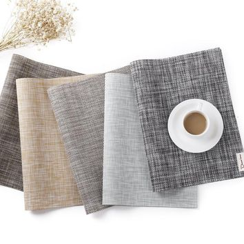 Simple European-style Thickening Table Insulation Mat Coaster High-grade Hotel PVC Woven Non-slip Easy To Wash Fast Dry Placemat