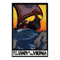 Lands of the Vikings Vintage Denmark Norway Travel Poster from Zazzle.com