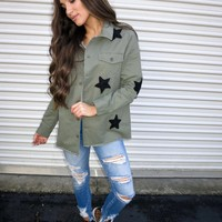Olive Raw Edge Star Jacket - These Three Boutique