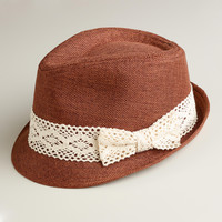 Brown Fedora Hat with Crochet Band - World Market