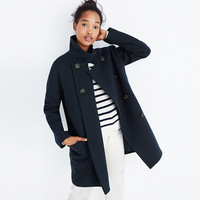 Double-Breasted City Grid Coat