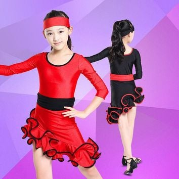 ICIK272 Soft Latin Dance Dress for Girls Kids Performance Latin Fringe Dress Ballroom Dance Samba Salsa Costume Dancing Clothing L006