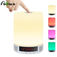 Multi-function Digital LED Alarm Clock TF Card Wireless Bluetooth Speaker Smart LED Night Light Table Lamp Alarm Clocks With Mic