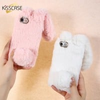 KISSCASE Luxury Rabbit Fur Case For iPhone X XR XS Max 7 6 6S Plus Soft Plush Furry Cute Diamond Cases For iPhone 5S SE 5C Cover