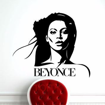 Beyonce Wall Sticker Celebrity Pop Star Music Vinyl Decal Retro Art Decor Bar Studio Club Restaurant Home Interior Room Mural