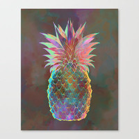 Pineapple Express Stretched Canvas by Schatzi Brown