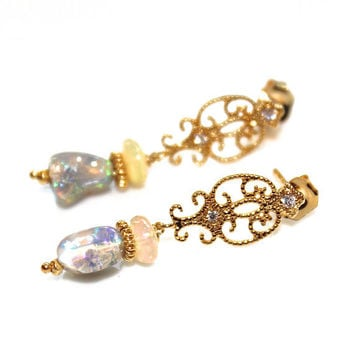 Rough Ethiopian Opal Earrings Gold Scroll Earrings Tumbled Opal Nuggets Artisan Gemstone Jewelry
