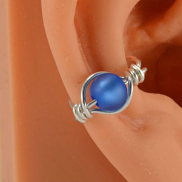Sterling Ear Cuff With Blue Frosted Beach Glass