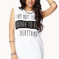 FOREVER 21 Young Enough Muscle Tee White/Black