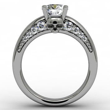 Skull Engagement Ring 950 Platinum with Genuine Center Diamond