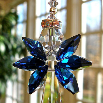 Grace Angel with Dark Sapphire Wings - Swarovski Crystal Suncatcher, Choice of 14 Wing Colors - 6 Inch - For Your Home or Car