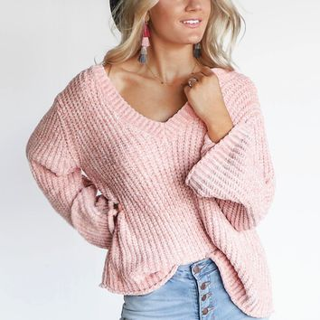 Going Mobile Chenille V-Neck Blush Flare Sleeve Sweater