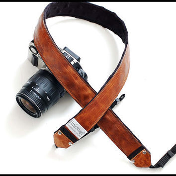 Leather DSLR Camera Strap  Whiskey Leather by sizzlestrapz on Etsy