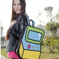 3D recreational machines Jump Style 2D Drawing From Cartoon Paper Bag Comic Backpack Bag