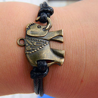 Black wax rope bronze elephant Adjustable Bracelet