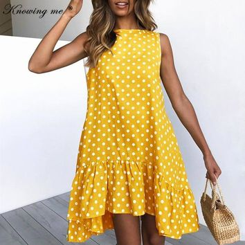 Knowing me Summer Ruffles beach dress women Polka dot print mini dress Girls sleeveless loose casual o neck party dresses